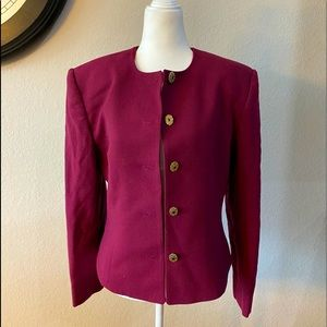 Vintage Prophecy Berry Colored 100% Wool Blazer